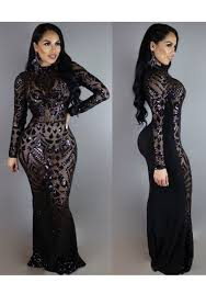 evening maxi dresses black geometric sequin cut out floor length prom evening party
