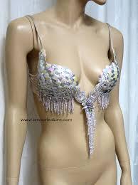 iridescent white scale mermaid plunge dance costume rave bra