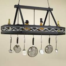 kitchen island hanging pot racks lighted hanging pot racks you ll wayfair