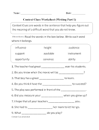 context clues worksheet writing part 1 intermediate ela