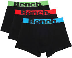 bench boxer shorts trunks 3 pack black white grey black s m