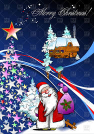 cartoon santa claus with christmas tree made of stars and snowy