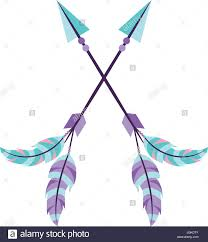 decorative arrows with feathers boho style stock vector
