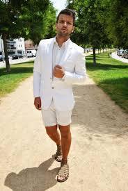 men u0027s white cotton blazer white long sleeve shirt white shorts