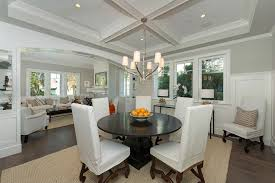 traditional dining room with hardwood floors u0026 wainscoting in