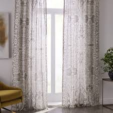 Curtains Set Sheer Cotton Distressed Medallion Curtains Set Of 2 Cloudburst