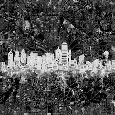 Dallas Map by Dallas Skyline Map Black And White 5 Painting By Bekim Art