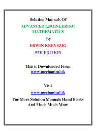 solution manual of advanced engineering mathematics by erwin kreyszig u2026