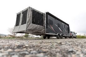 travel trailer with garage atc aluminum toy hauler