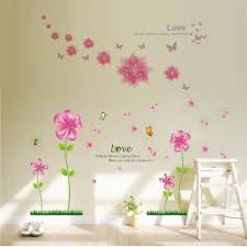 bago lovely pink petal flowers butterflies wallpaper for bago lovely pink petal flowers butterflies wallpaper for living room bedroom removable home wall decals stickers murals cor wallpops