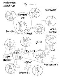 Kids Halloween Coloring Pages Frankenstein Worksheets For Kids Halloween Match Up Match The