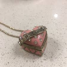 locket necklace with photo images Betsey johnson betsey johnson pink heart locket necklace from jpg