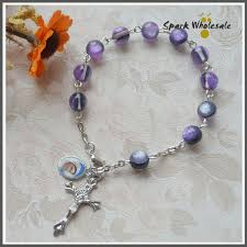 baptism charm bracelet 30pcs lot catholic fancy 8mm purple resin rosary bracelet catholic