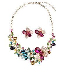 big crystal statement necklace images Hamer women 39 s multi color big crystal flowers statement choker jpg