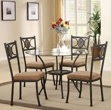 slate dining table set new 5pc black metal slate insert round glass top dining table set ebay