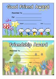 good friend award certificate free teaching resource number l11