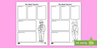 year 1 my ideal teacher activity sheet back to new