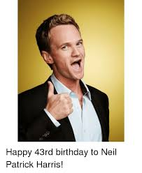 happy 43rd birthday to neil patrick harris meme on sizzle