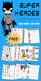 free super heroes worksheet printables pack toddler preschool