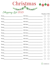 gift shopping list free printable christmas shopping list