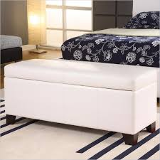 wooden ottoman bench seat modern bedroom design with black floral bed set and white ottoman
