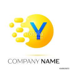 y letter splash logo yellow dots and circle bubble letter design