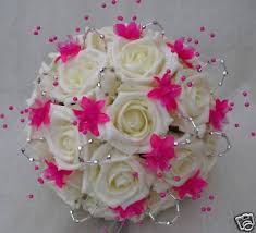artificial flower bouquets change the roses to something else hot pink bouquet wedding