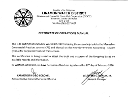 transparency seal linamon water district