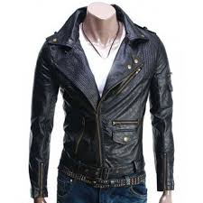 biker jacket black leather jacket mens biker asymmetric style slim fit jacket