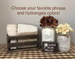 Hydrangea Bathroom Accessories by Mason Jar Bathroom Etsy
