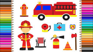 how to draw fire truck and firefighter icons coloring pages kit
