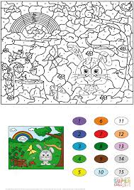summer scene color number free printable coloring pages