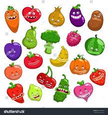 funny cartoon fruits vegetables characters vector stock vector