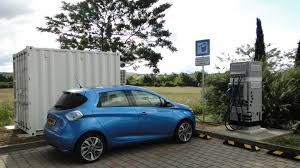 electric cars charging renault using old ev batteries to power electric car charging