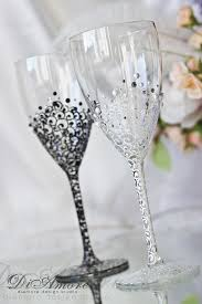 wedding glasses white and black personalized wedding set chagne flutes mr