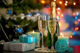 gifts balls candles christmas tree lights champagne glasses