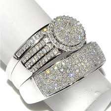 diamond wedding ring sets for his and rings 0 65cttw 10k white gold wide wedding set