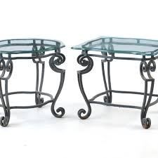 wrought iron end tables pair of glass top wrought iron end tables ebth