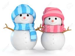 3d illustration of happy male and female snowmen stock photo