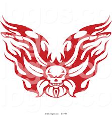 royalty free clip art vector red flaming skull motorcycle biker