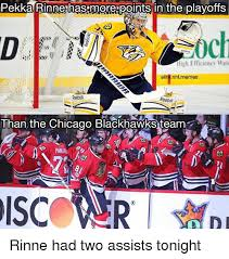 Blackhawks Meme - pekka rinne has more points in the playoffs iligh efficiency wate