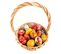 easter eggs wicker basket holidays design
