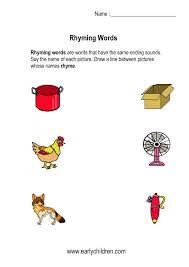 printable rhyming words kindergarten rhyming words worksheets