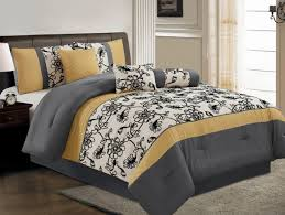 Yellow Comforter Twin Bedroom Bed Room With Yellow And Gray Floral Pattern Bedding Set