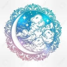 intricate ornate crescent moon with and clouds