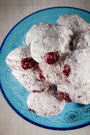 jelly donuts filled with cranberry sauce for hanukkah and