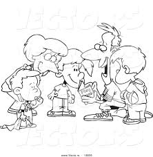 vector of a cartoon huddled family reading a football play book