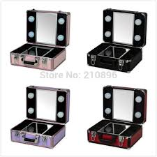 makeup luggage with lights new type portable makeup case with lights light weight makeup box
