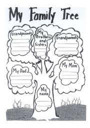 esl kids worksheets my family tree