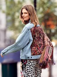 free people paisley quilted denim jacket in blue lyst